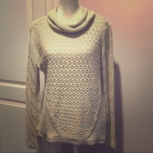 Cream Cowl-Neck Open-Weave Sweater